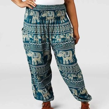 Lenana Teal Plus Size Harem Pants