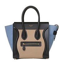 celine medium luggage phanton bag in baby grained calfskin (blue\black)