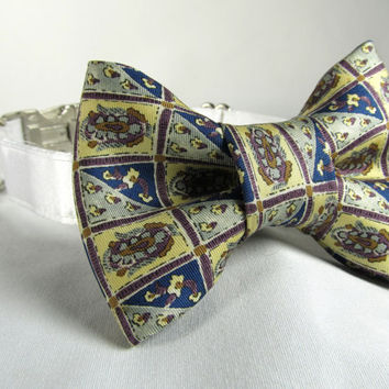 Dog collar and Bow Tie - READY To SHIP Yellow and Blue Squares  - wedding dog collar, bowtie dog collar