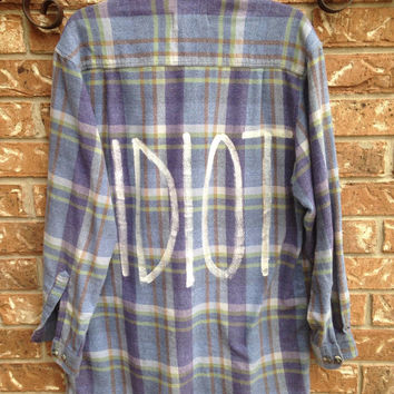 "Michael Clifford inspired ""IDIOT"" painted flannel shirt. 5SOS"