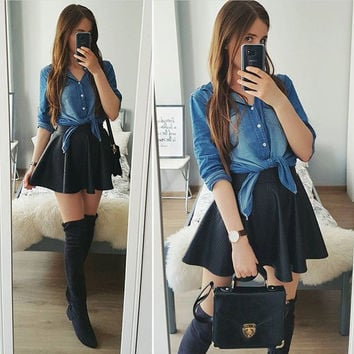 Brief Long Sleeves Slim Fashion Denim Blouse