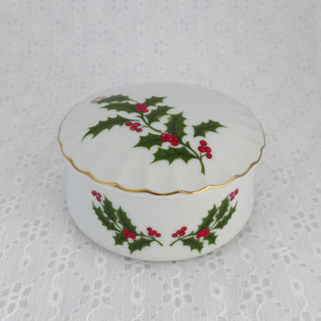 Holly Trinket Box, (2 Available), Jewelry Gift Box, White Porcelain, Green Red Holly, Holiday Decor, Holly Keepsake Dish
