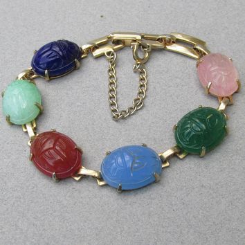Egyptian Revival 1960's Vintage Gold Filled Scarab Bracelet