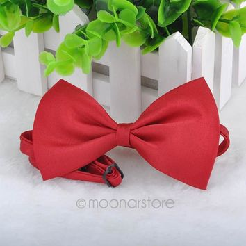Lowest Price!!! Solid Color Girls Pet Dog Cat Fashion Bowtie Bow Tie For Candy Cravat Pet Dog Cat Butterfly Drop shipping