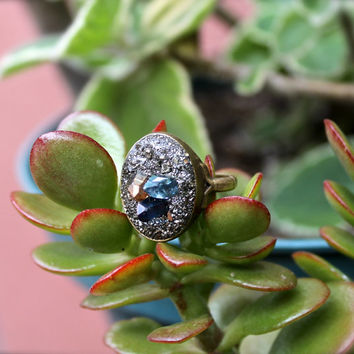 Aura Quartz Ring - Crystal Point Ring - Boho Chic Festival Fashion - Wiccan Jewelry - Crushed Pyrite Jewelry - Aqua Aura Quartz Jewelry