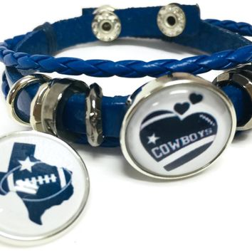 NFL Football Fan Dallas Cowboys Blue Leather Bracelet W/  Heart and Texas State 18MM - 20MM Snap Charms