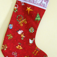 Colorful Christmas Stocking.. shabby chic Christmas Stocking