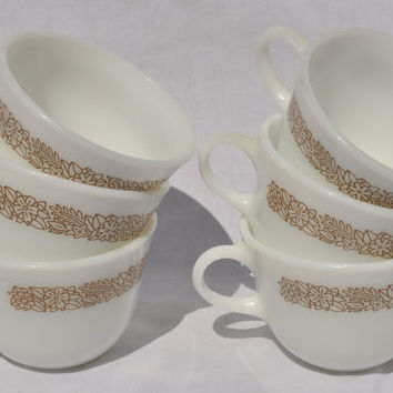 Pyrex Corelle Woodland Brown Cup, Creamer and Sugar Set   Vintage