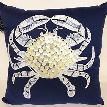 Blue Crab Embroidered with Capiz Shell and Bead Accent Decorator Throw Pillow