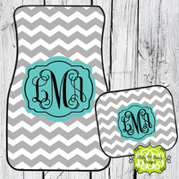 Car Mats Chevron Personalized Monogrammed Floor Car Mat Turquoise Gray
