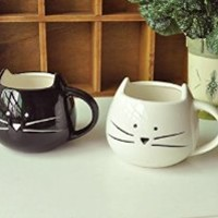 DOYOLLA Lovely Cute Little White Cat Morning Tea Coffee Milk Ceramic Mug Cup (A Pair)