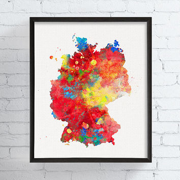Germany Map, Germany Wall Art, Germany Poster, Germany Print, Watercolor Map Art, Map Wall Decor, Framed Art, Custom Color, Travel Art