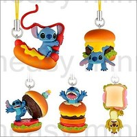 5p Yujin Disney Stitch & Lilo Figure Keychain Hamburger