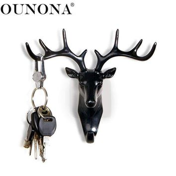 Ounona Vintage Deer Head Antlers Wall Hanging Hook For Hanging Clothes Hat Scarf