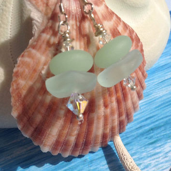 Coke bottle sea glass earrings~beach glass jewelry~dangle Seafoam green frosted dangle earring-~beach jewelry~Swavorski Crystal~silver