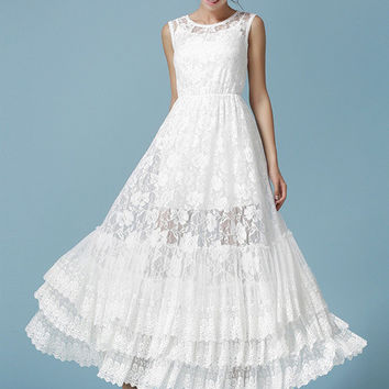 White Sleeveless Tiered Bottom Floral Lace Tent Dress