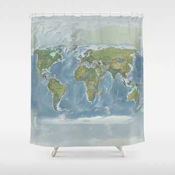 World Map Shower Curtain - modern , colorful, topographic - Home Decor - Bathroom - travel, blue, green globe - natural colors