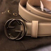 Brand New Gucci Interlocking GGs Beige/Grey Belt Size 90/36
