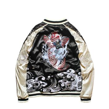 Japanese Style Jacket Double-sided Wear Yokosuka Jacket Male and Female Lovers Heavy Dragon Embroidered Pilot Bomber Jackets