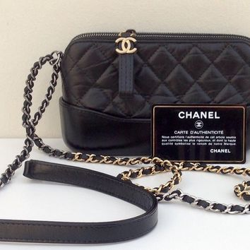 AUTHENTIC CHANEL GABRIELLE SMALL BLACK CALFSKIN CLUTCH BAG - MINTY from 2017