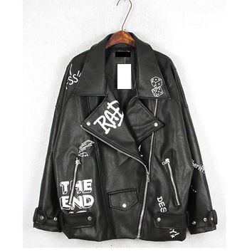 Punk Winter Thick Black Leather Jacket