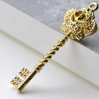 Gold Crown Key Pendants Charms 20x59mm Double Sided Set of 6 A8062