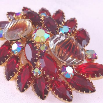 Siam Red Rhinestone Pin Vintage Red Jewelry Givre Glass Large Red Brooch Multi Prong Setting Open Back Stones Aurora Borealis Gifts for Her