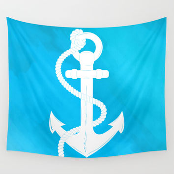 White Anchor Wall Tapestry by Texnotropio