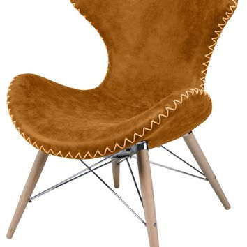 Ceylon Accent Chair Wooden Legs, Antique Caramel