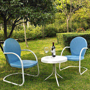 3 Piece Patio Furniture Set with Table & 2 Chairs in Sky Blue