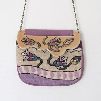 Vintage 1980s Patricia Smith Moon Bag / Lavender Suede / Floral Needlepoint / Hand Painted Purse