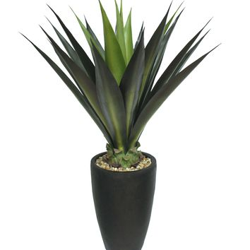 """44"""" Tall Agave Artificial Faux Lifelike Indoor-Outdoor in Fiberstone Planter"""