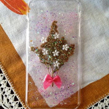 real pressed flower and glitter phone case with embellishments and a bow for iphone 6 plus