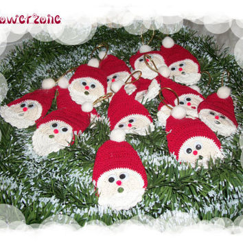 Christmas in July Crochet Santa Claus Appliques or Ornaments -