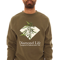 Diamond Supply Co Crewneck Sweatshirt Homegrown in Army Green