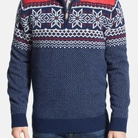 Men's Vineyard Vines 'Fairfield' Snowflake Fair Isle Merino Wool Quarter Zip Sweater