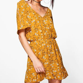 Louise Cold Shoulder Ruffle Floral Playsuit | Boohoo