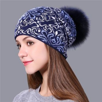 Women Xthree Warm wool winter Knitted Hat