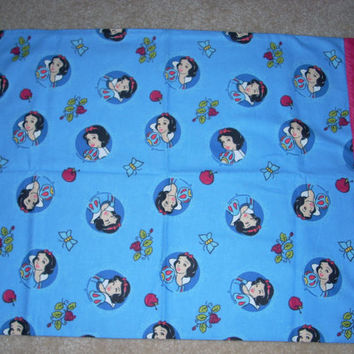 Snow White Flannel Pillowcase with bright pink trim - Fits Standard and Queen size pillows