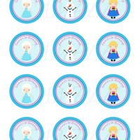Frozen inspired Stickers, Cupcake Topper, Tags. Frozen birthday party. Frozen printable.