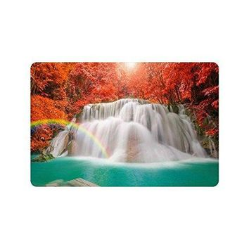 Autumn Fall welcome door mat doormat Warm Tour Fall Red Leaf Trees Anti-slip  Home Decor Waterfall Rainbow Indoor Outdoor Entrance  Rubber Backing AT_76_7