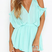 Light Green Spaghetti Strap V-Neck Chiffon Romper