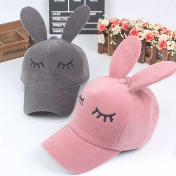 Plush Hats For Girl Winter Baseball Cap Spring And Autumn Love Pink Kawaii Rabbit Fitted Hats Birthday Christmas Gift YJWH985
