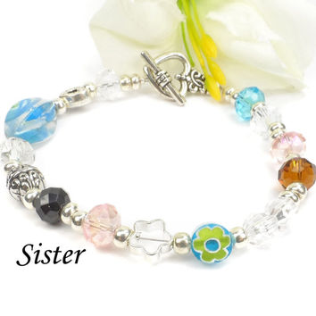 Gift Idea For Sister, Beaded Sisters Poem Bracelet