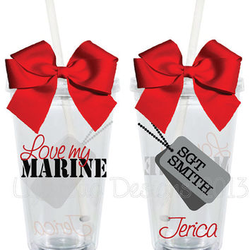 Love My Marine with Dog Tags 16oz Personalized Acrylic Tumbler
