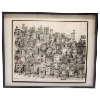 Pre-owned Vintage  G.C. Bayz Glass Lithograph San Francisco