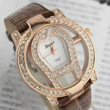 Women Transparent Luxurious Classic Lady Crystal Black Quartz Wrist Watch Gift