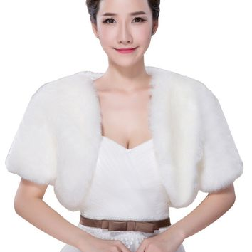 In Stock Wedding Accessory Faux Fur Black White Custom Made Bridal Coat Wedding Bolero Stoles Jacket Shrug Wraps LF46