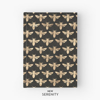 Hardcover Journal / Hardcover Notebook - Honey Bee Faux Rose Gold, Bee Pattern, Black, Gift for Her, NewSerenityStudio