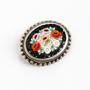 Vintage Italy Micro Mosaic Flower Pin Mid-Century 1950s 1960s Silver Tone Italian Colorful Ornate Floral Glass Tesserae Tiles Jewelry Brooch